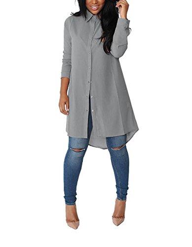 Yidarton Womens Boyfriend Style Button Down Long Tops Casual Loose Chiffon Blouse T Shirt Dress