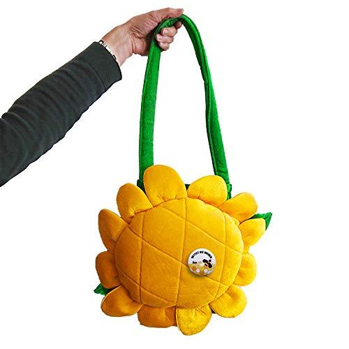 Unbekannt Blumen Tasche gelb Sonnenblume inkl. Button Anstecker Rettet die Bienen Fasching Set