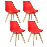 WOLTU® 4er Set Esszimmerstühle Küchenstuhl Design Stuhl Esszimmerstuhl Kunstleder Holz Rot BH29rt-4