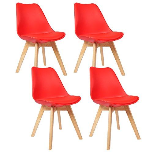 WOLTU BH29rt-4 Sedie da Pranzo Sgabello con Schienale Plastica Ecopelle  Legno di Faggio Sedia per Cucina Ristorante Rosso 4 Pezzi