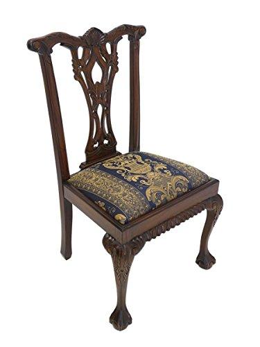 Stuhl im antiken Stil mit Textilbezug Massivholz (Chippendale Stuhl)