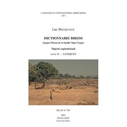 Dictionnaire Birom Livre II, Lexiques