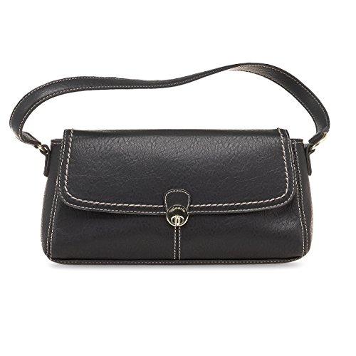 TAMARIS SOPHIA Damen Handtasche, Baguette Bag, Henkeltasche, 2 Farben: muscat braun oder schwarz Schwarz