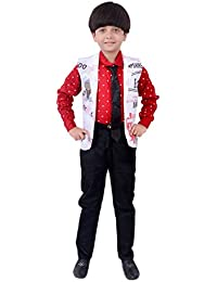 Arshia Fashions Boys Shirt Waistcoat and Pant with Tie Set Party wear