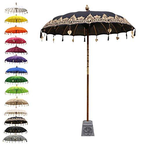 inesischer Sonnenschirm Garten Schirm Sonnenschutz Baumwolle Indonesien Handarbeit Retro Vintage Dekoschirm 2-teilig ca.180cm Ø, Farbe:Schwarz Gold ()