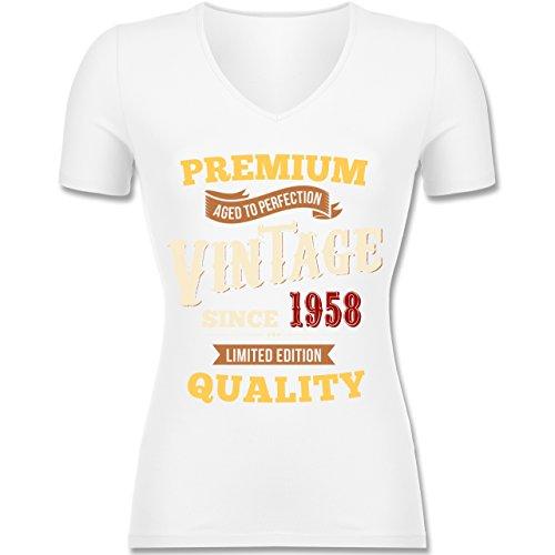 Shirtracer Geburtstag - 60. Geburtstag Vintage 1958 - Tailliertes T-Shirt mit V-Ausschnitt für Frauen Weiß