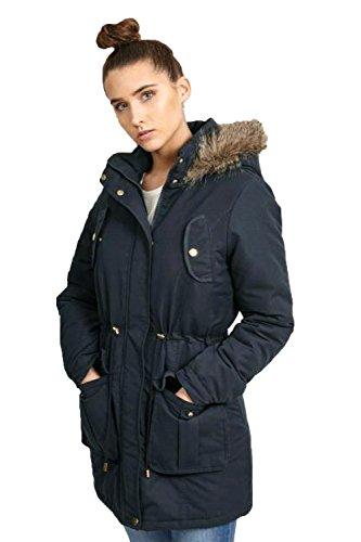 Damen Parka Jacke Brave Soul Damen-mantel Gesteppt Kapuze Pelzfutter Winter Neu Marineblau - CICELY