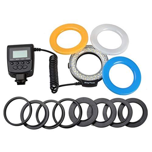 fgghfgrtgtg Anello Adattatori 4 diffusori Flash Display LCD di Ricambio per Nikon DSLR Canon Camera Marco LED Flash Light 8 Lens
