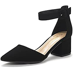 Dream Pairs Annee Zapatos de Tacón Bajo Nubuck para Mujer Negro 38.5 EU