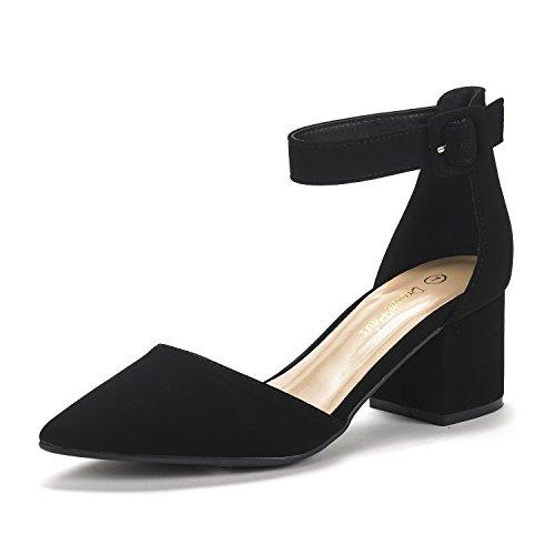 Dream Pairs Annee Zapatos de Tacón Bajo Nubuck para Mujer Negro 41.5 EU