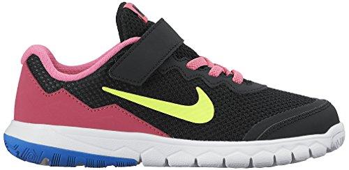 Nike Flex Experience 4 (Psv), Chaussures de Sport Fille, 16 EU Noir / Vert / Rose / Blanc (Black / Volt-Pink Pow-White)