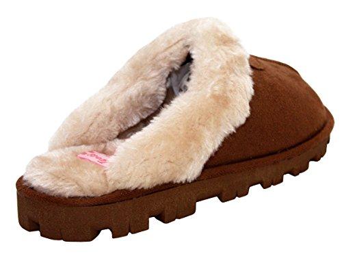 JyotiLibby - Ciabatte da ragazza' donna Brown/White Fur