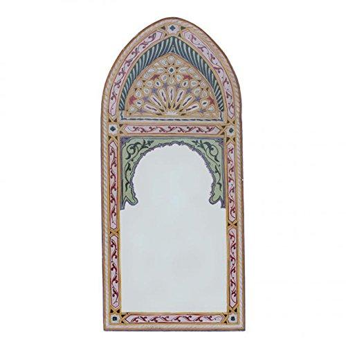Oriental Espejo de pared | Espejo marroquí Sharif Beige | 122x56 cm | pintado a mano | Artesanías...