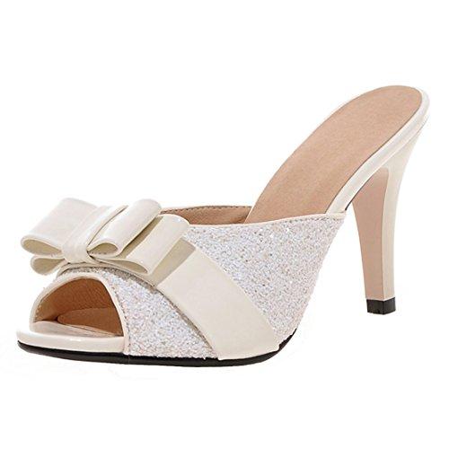 AIYOUMEI Damen Glitzer Peep Toe Stiletto High Heels Pantoletten mit Schleife Bequem Modern Pailletten Sandalen Weiß