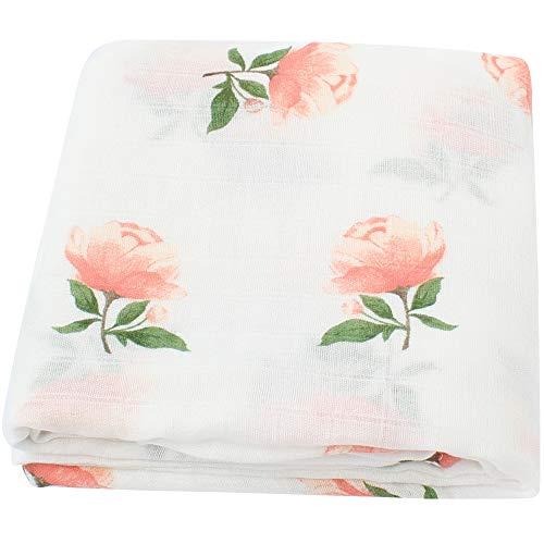 LifeTree Babydecke Musselin Swaddle Pucktücher aus Puckdecken | XL Größe 120x120 cm Babydecken Bambus Baumwolle | Mullwindeln für Mädchen