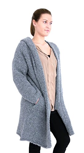 Damen Kapuzen Long Strick Jacke Boucle Optik Open front fly away Cardigan M L XL 40 42 44 (8364) (dunkelgrau) (Strickjacke Fly Away)