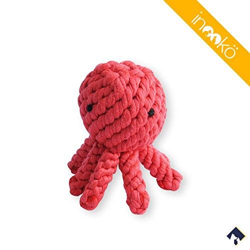 inooko - June der Oktopus Seilspielzeug, 13 cm, Für Hunde und Katzen, Koralle