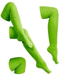 NUEVO MUJER rodilla largo Casual Mujer Thigh High Plain de algodón y elástica Overknee calcetines (Verde)
