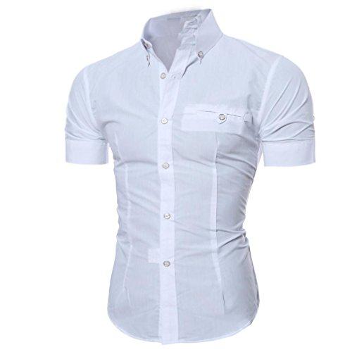 Kword uomo camicia maglietta uomo camicetta a maniche corte con scollo t-shirt manica corta con bottone da uomo slim fit (bianco, m)