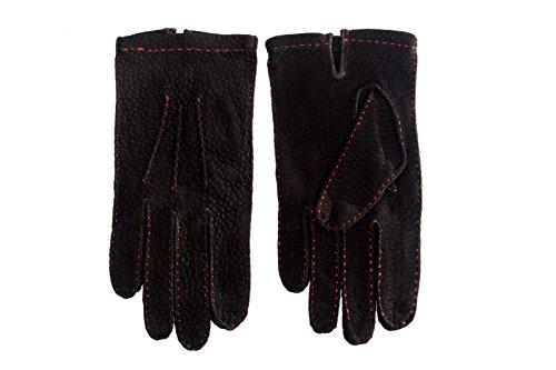 Gants de cuir Carpincho pour Hommes Noir Sans doublure Cousu à la Main Noir