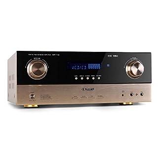 auna AMP-7100 • 7.1-Channel Surround AV Receiver • Amplifier • 2000W • 2 Optical Inputs• 2 Coaxial Inputs • 7.1 Input • 2 Front Mic Inputs • 20 Hz - 20 kHz • Terminal Block Connection • Radio • Bronze
