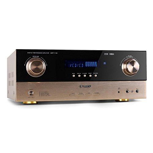 auna AMP-7100 amplificatore Hi Fi (2000 Watt di potenza, ingressi RCA per collegare dispositivi esterni, sintonizzatore radio integrato, due ingressi microfono frontali) - nero/oro