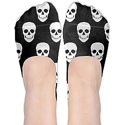 Fedso Calcetines Invisibles Antideslizantes para Mujer, diseño de Calavera de Halloween