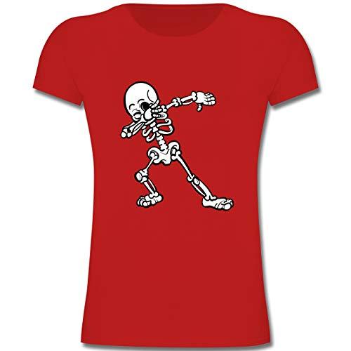 bbing Skelett - 152 (12-13 Jahre) - Rot - F131K - Mädchen Kinder T-Shirt ()