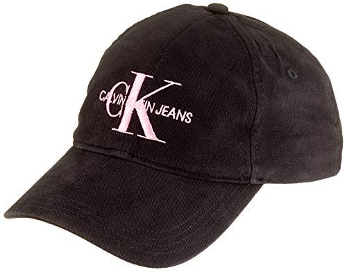 Calvin Klein Jeans Damen J Monogram W Baseball Cap, Schwarz (Black Beauty+Pink Embr 016), One Size (Herstellergröße: OS)