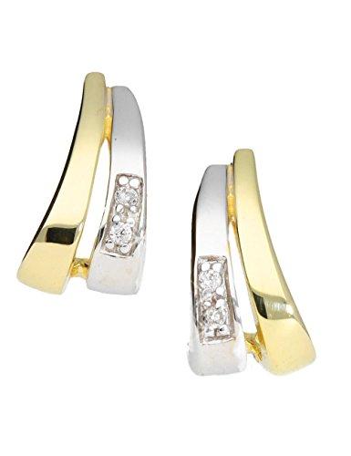 MyGold Damen Ohrringe Ohrstecker Stecker Gelbgold Weissgold Weißgold 333 Gold (8 Karat) Glanz 11mm x 6mm Glanz Goldohrring Goldstecker Ohrschmuck Trend Weihnachtsgeschenke Patio O-03771-G361-CZC45-CZC
