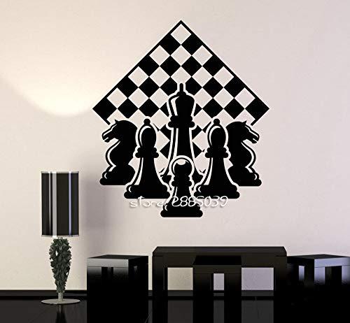 Schachspieler Stück Schachfiguren Wandaufkleber E-co Freundliche Vinyl Schachbrett Wandtattoo DIY Selbstklebende Tapete Wandbild 57 * 66 cm