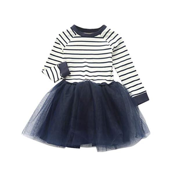 Mitlfuny Primavera Verano Ropa Niñas Bebé Princesa Vestidos Manga Larga Rayas Cuello Redondo Camiseta Vestido Tul… 2