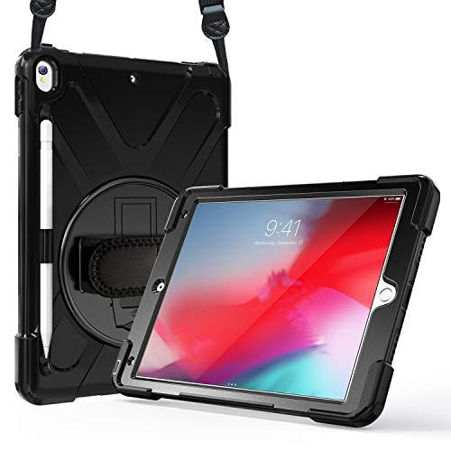 ProCase iPad Air 3 10.5 2019 /iPad Pro 10.5 2017 Hülle Case Handschlaufe,Robust Heavy Duty Stoßfest Hybrid Full Body Schutzhülle Cover, 360°Drehständer & verstellbar Riemen Schultergurt -Schwarz