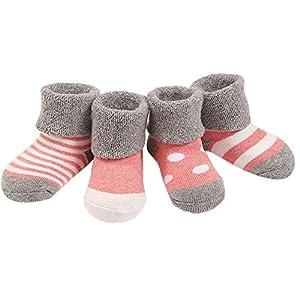 wscmd Säuglingsbabywanderer bequem 4 Nette Socken des Artmädchens und -Jungen 4 Paare