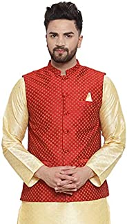 NEUDIS by Dhrohar Jacquard Cotton Printed Nehru Jacket/Waistcoat For Men - Red