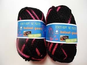 Neu Hatnut Gaudy Mützenwolle Fb. 86 schwarz/pink