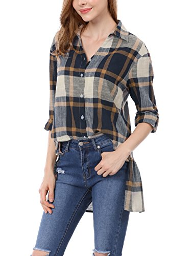 Allegra K Damen Plaids Schlitz Seite Ruffled Zurück Hi-Lo Saum Boyfriend Shirt,Blue XS (EU 34) (Shirt Plaid Ruffled)