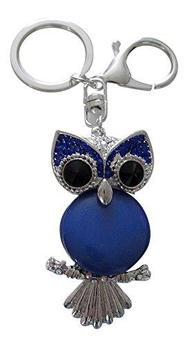 Gioielli di borsa, porta chiavi, motivo: gufo con pietra colore blu Tipo opale.