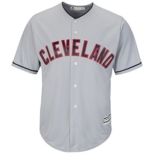 Majestic Cleveland Indians Cool Base MLB Trikot Road Grau (M) (Baseball-shirt Indian)