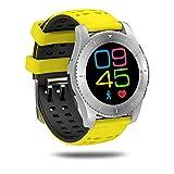 Xwly-sw Smart Watch Support Independent SIM Card Fitness Tracker mit Herzfrequenz-Blutdruck-Monitoring-Tomo Sleep Monitoring Bluetooth 4.0 für Männer und Frauen,Yellow