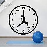 ASFGA Fille Horloge Vinyle Sticker Mural Yoga Classe Méditation Relaxation Centre de Remise en Forme Chambre Décoratif Sticker Mural 57x57 cm