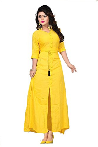 Pashva Enterprise Present Rayon Yellow Color Plain Stitched Kurtis (SIZE_ XL, Stitched)
