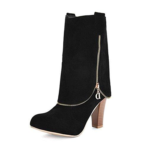 WYWQ Flanging Knight Boots 40-43 Stivali tacco medio con tacco alto autunno e inverno Stivali metà tubo con tacco rosso, nero, marrone, grigio black