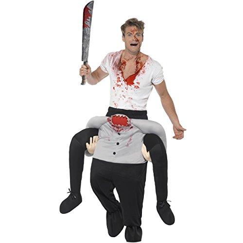 Oramics Halloween außergewöhnliches Kopflos Horror Kostüm, Huckepack, Zombie Trag Mich Piggyback mit Beinen inklusive Spielzeug-Machete und Kunstblut-Spray, originelle Verkleidung und Kostümidee (Kreative Halloween Kostüme Für Männer)