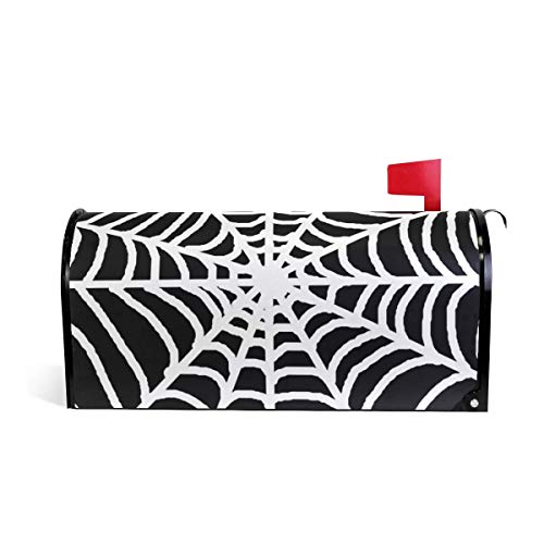 prz0vprz0v White Spider Web Black Background Magnetic Mailbox Cover 21 x 18 Inches Waterproof Canvas Mailbox Cover