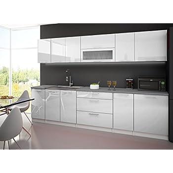 cuisine complete 3m laquee blanc avec plan de travail. Black Bedroom Furniture Sets. Home Design Ideas