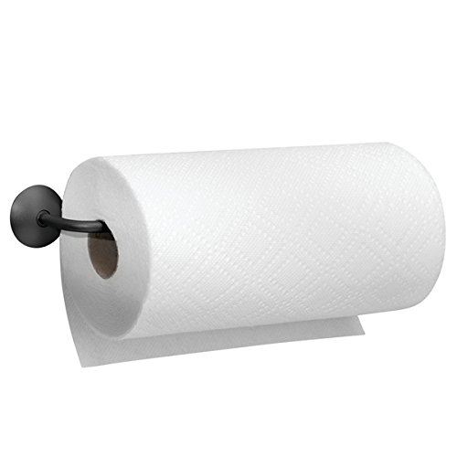 mDesign Soporte para rollo de papel de cocina - Portarrollos de pared - Práctico Dispensador de rollos para cocina fijado a la pared - Color: negro mate - Material: acero