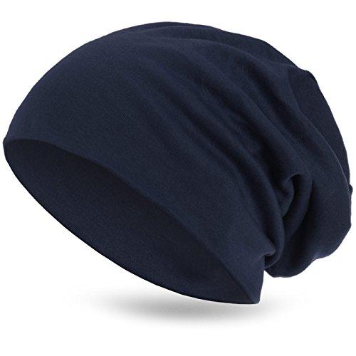 style3 Warme Herbst Winter Slouch Beanie XXL aus atmungsaktivem, feinem und leichten Jersey Unisex Mütze Wintermütze, Farbe:Marineblau