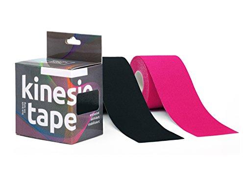 Sportsment Kinesiotape für Sport, Freizeit und Physiotherapie inkl. gratis E-Book (elastisch, hautverträglich, selbstklebend, belastbar, wasserfest) 5 cm x 5 m [Schwarz & Pink]