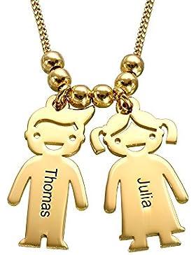 Vergoldete Kette mit Kinder Anhängern und Wunschgravur- Personalisiert mit Ihrem eigenen Namen!